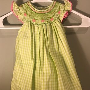 Girls Smocked Strawberry Dress, Lime Checkered